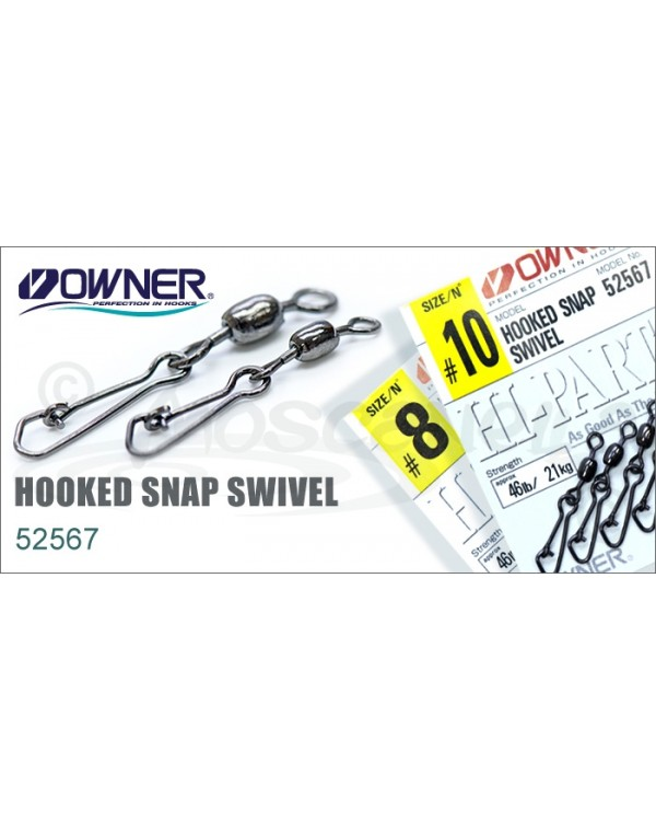 Вертлюг с карабином OWNER HOOKED SNAP SWIVEL 52567 № 18
