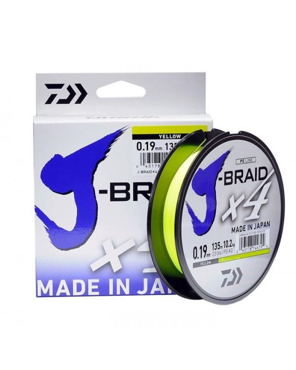 """Шнур плетёный """"Daiwa"""" J-Braid X4 Fluo 135 м."""