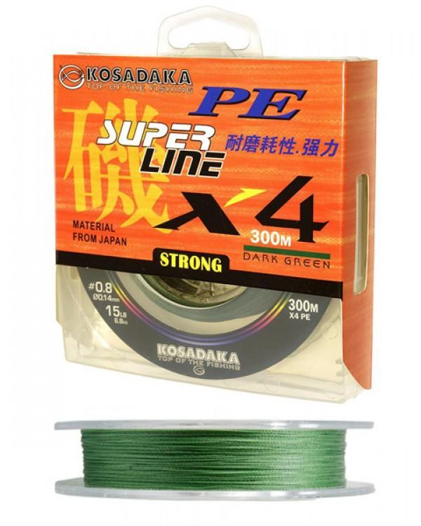 Шнур плетёный Kosadaka Super Line PE X4 300 м.