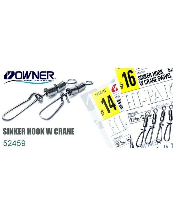 Карабин с двойным вертлюжком Owner Sinker Hook W Crane 52459