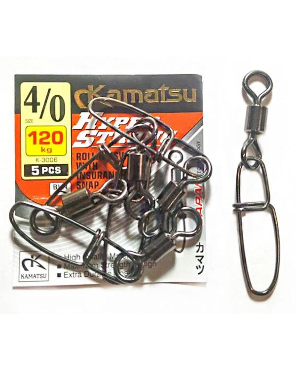 Карабин Kamatsu Rolling Swivel With Insurance 4/0-120 кг K-3006