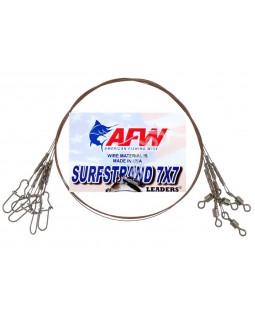 """Стальной поводок """"AFW"""" 7x7 оснащён вертлюгом и застёжкой"""